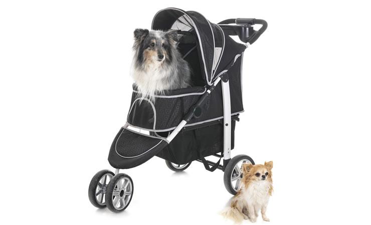 Carrinho de bebê para facilitar o passeio junto com os cães